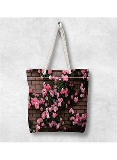 Else Halı Pembe Çiçekler 3D Desenli Fermuarlı Kumaş Omuz Çantası